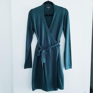 Lulu's green sweater wrap dress size S NWT